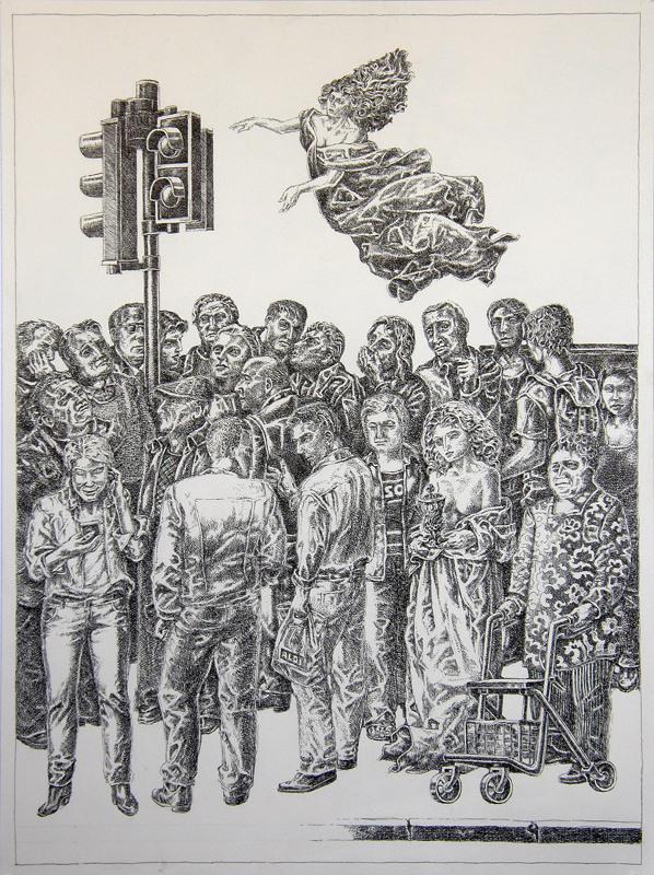 Burkhard Pfister: Der Kelch. Federzeichnung, 2015, 62x46cm.