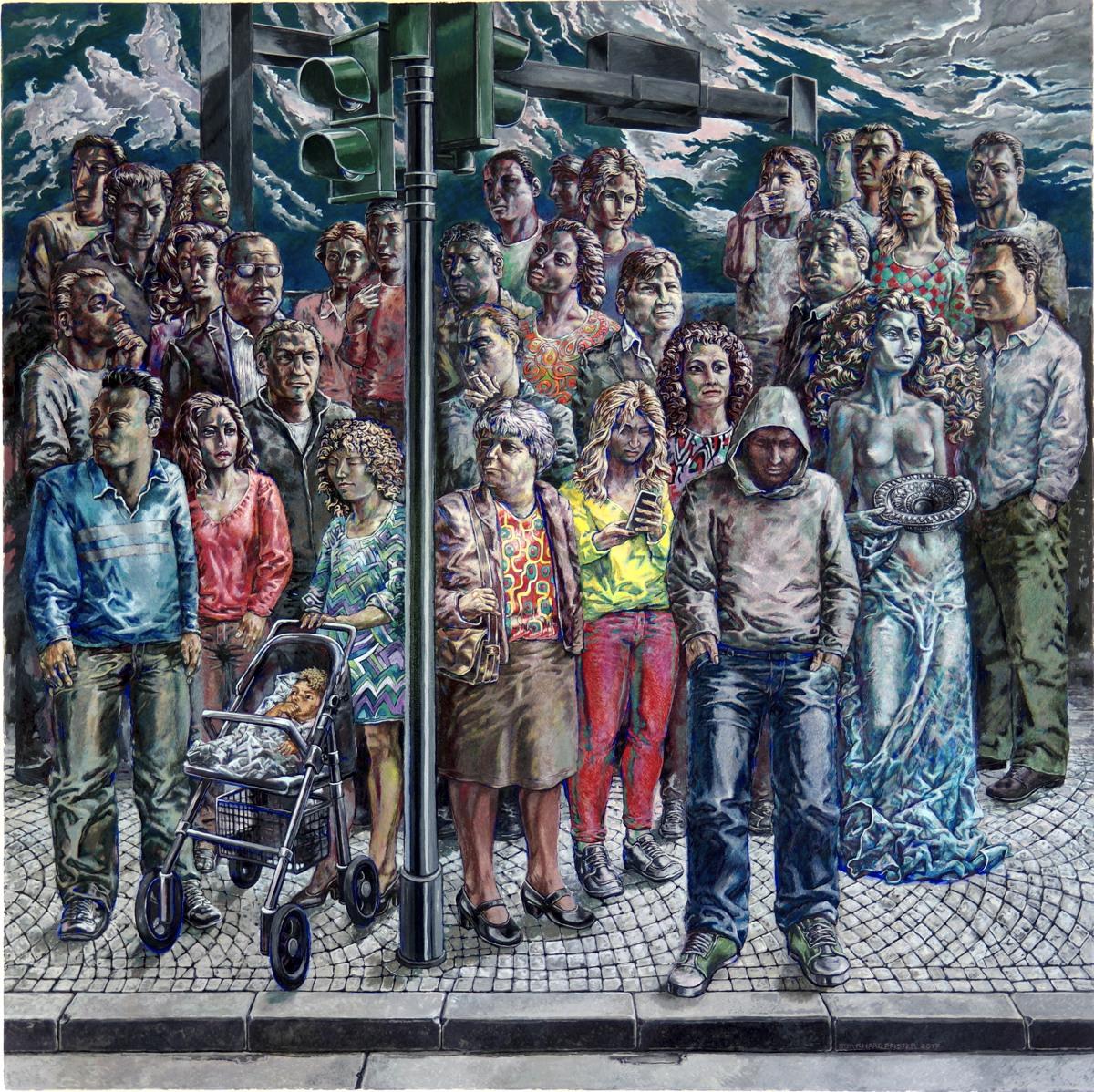 Burkhard Pfister: Menschen an Ampel mit Engel. Malerei, 2017. 112x112cm