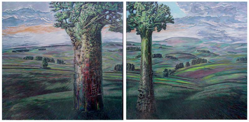 Burkhard Pfister: Landschaft. Malerei, 2010 je ca 50x60cm