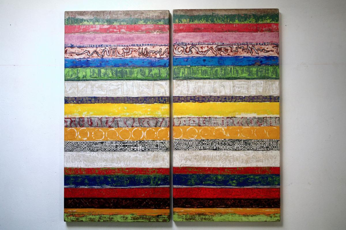 Streifen, Malerei, 2016. 120cm x 60cm. Leimfarbe und Papier auf Holzkörper